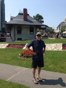 Mark outside of the old train depot in Kingston