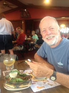 Mark tries Whitefish Livers - good, but very rich!