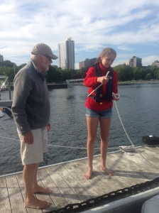 Papa teaching Ellie to tie a Bowline Knot