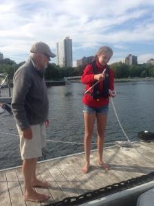 Papa teaching Ellie to tie a Bowline Knot