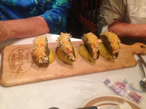 Great presentation in serving mini-tacos - in lemon wedges!