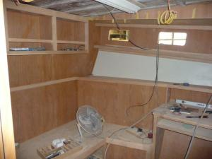 Den/guest room seating area.  The settee will pul out into a double berth for our guests!