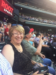 At the Rockies game with Margo Goetz (Mark's sister)