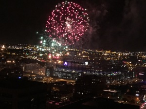 Fireworks seen from the top of our building