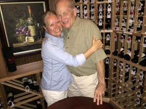 Kirby and Pauline in his wine cellar picking out something tasty!