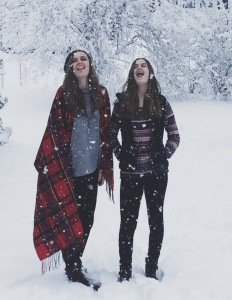 Ellie and Anna enjoying some Wisconsin snow!