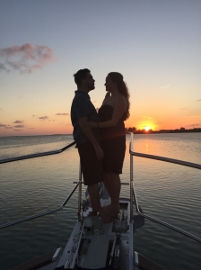 Lovebirds enjoying a sunset