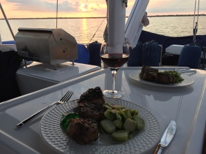 Dinner on the flybridge in Rodriguez Key